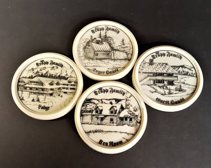 Featured listing image: Trapp Family Lodge Vintage Coasters from the Trapp Lodge, Tea House, Guest House, and Sugar House Trapp Family Memorabilia Etched in Relief