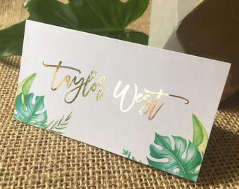 Tropical Foiled Personalised | Personalized Place Cards | Tent Cards | Wedding | Palm | Name Tags | Metallic | Summer | Leaf | Greenery