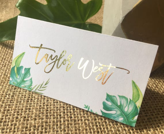 Like this item? & Tropical Foiled Personalised Personalized Place Cards Tent