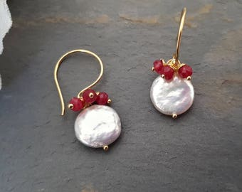 Ruby pearl earrings, ruby earrings gold, drop earrings pearl, July birthday gifts, ruby jewellery, ruby earrings, gold pearl earrings