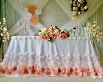 Cascading Rosehead Tablecloth. Cascading Rosehead Table Skirt