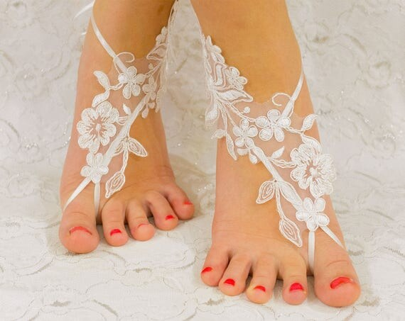 Bridal Accessories | barefoot sandals beach wedding, wedding shoes, bridal lace shoes, wedding party, barefoot sandles 01