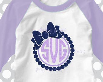 Pearl and bow frame, monogram svg, circle bow, pearls svg, split monogram svg, SVG, dxf, eps, sorority svg, preppy svgs, mandala svg, cute