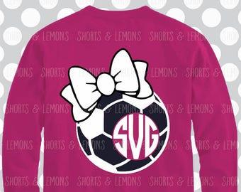 Soccer SVG, Soccer, bow svg, decal cut file, Soccer shirt, Soccer Monogram svg, Soccer dxf, Soccer Download, Cricut, Silhouette, ball svg