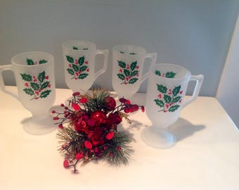 Vintage Holly and Frost Mugs Indiana Glass Company set of (4)