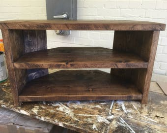 Hand Made Solid Wood Corner Tv Stand - solid wood Walnut