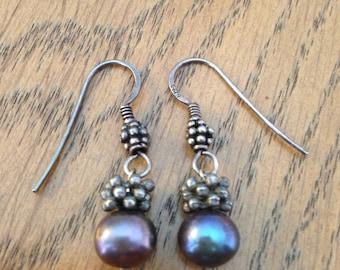 Sterling Silver Black Pearl Earrings