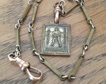 Vintage Watch Chain with Fob 1938 Maine Interscholastic Tournament