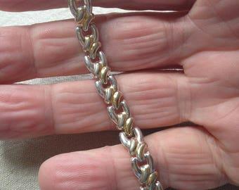 Sterling Silver and Gold Link Bracelet
