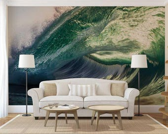 Peel And Stick Wall Decor, Wall Mural Tropical, Wave Wallpaper, Wallpaper Blue