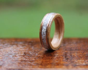 Elk Antler Whiskey Barrel Wood With Ring Double Copper Inlay  - Bentwood Wooden Ring Men Wedding ring Engagement Ring Woman Anniversary