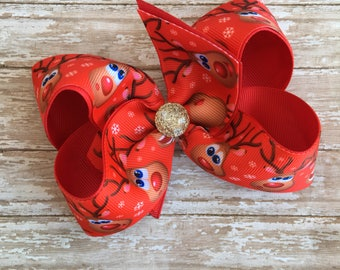 "Red hair bows, christmas hair bow, reindeer hair bows, big hair bows, holiday bows, big red bows, 5"" hair bows, hair bows"