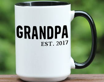 Grandpa Est coffee mug. Grandpa Est coffee cup, Custom New Grandpa Mug, Pregnancy reveal, Father's Day mug, Personalized Mug, Gift for Papa