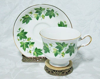 Queen Anne Bone China Tea Cup and Saucer - Ivy Pattern