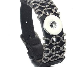 Vintage Black Leather Interchangeable Snap Bracelet for Men or Women