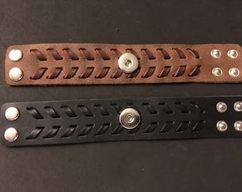 Two New colors of Vintage Genuine Leather Men's 18mm Interchangeable Snap Bracelets - Adjustable