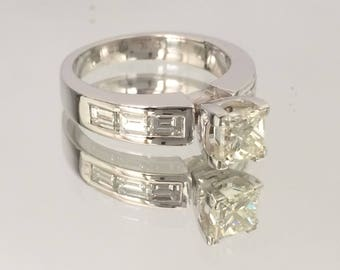 Certified 2.25 CT Princess & Baguette cut Diamond engagement Ring 18k white gold  hand made