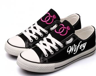 Wifey Shoes Just Married Wedding Day Shoes Sneakers Tennis Shoes