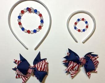 SALE 20% OFF -- Girl and Doll Matching 4th of July Accessories!