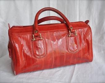 Vintage Genuine Eel Skin Top Handle Red Ladies Purse made in Korea