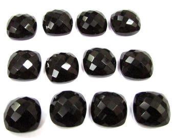 5 pcs Lot 11mm Black Onyx Checker Faceted Cushion Bottom Flat Gemstone, Black Onyx Cushion Faceted Checker Cabochon Gemstone