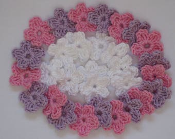 30 mini flower in 3 colors - crochet