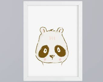 Panda drawn - art print, unframed