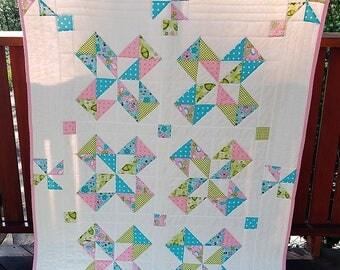 Colorado Pinwheel Crib Quilt/ Little Girl Crib Quilt/ Handmade Crib Quilt/Pink and Blue Crib Quilt/Handmade Baby Quilt