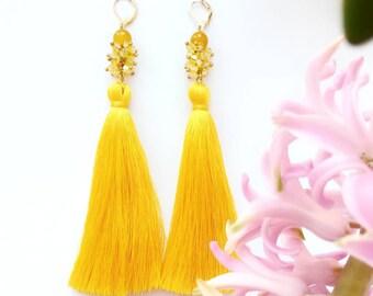 Crystal and Gemstone Earrings, Yellow Earrings, Purple Earrings, Tassel Earrings, Earrings with crystals, Earrings with Gemstones,