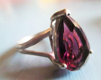 Vintage Ring, Amethyst and Sterling Silver, Estate Jewelry, Pear Cut Teardrop, Unique, February Birthstone, Gifts for Her, Mid Century Ring
