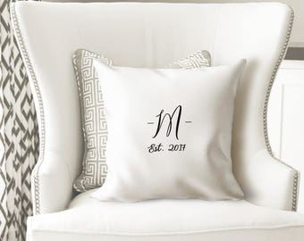 Monogrammed Pillow Covers- Anniversary Gifts for Women- Initial Pillow- Farmhouse Pillow Covers-Throw Pillows-Wedding Gifts Personalized