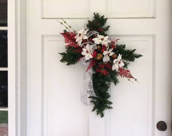 Memorial Evergreen Christmas Cross White Ribbon White flowers