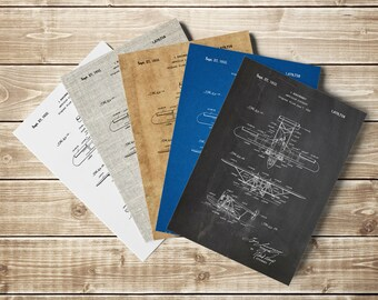 Biplane Floatplane, Biplane Patent Print, Biplane Patent, Staggered Biplane,Airplane Nursery,Aviation Decor,Biplane Poster, INSTANT DOWNLOAD