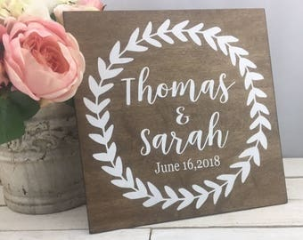 "Wedding Sign-Rustic 12"" x 12"" Wedding Name Sign- Country Chic Wedding Wreath Sign-Wedding Gift"