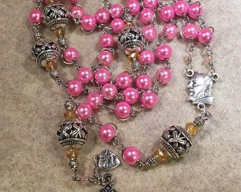Wire wrapped rosary,  St. Padre Pio Catholic  rosary - Handmade