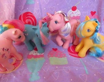 G1 1983 My Little Pony Lot Parasol, Bow Tie, Twilight Pink Unicorn, Bubbles