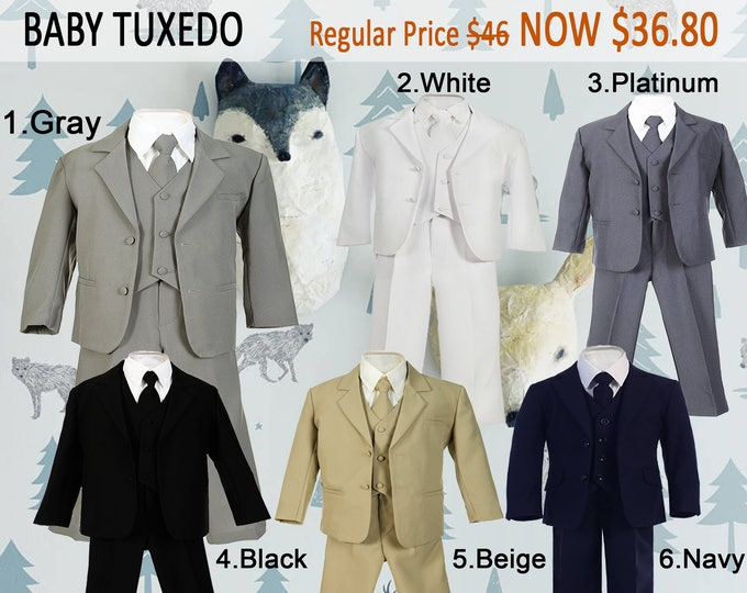 Featured listing image: Baby Toddler Boy 5-Piece Suit, Jacket Vest Shirt Tie Pants, Gray Black White Navy Beige, Baptism Christening Wedding Birthday