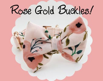 ROSE GOLD + Pink Coral Watercolor Floral & Bow Dog or Puppy Collar