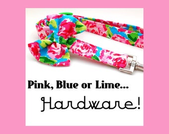 Pink Watercolor Roses & Bow or Bare Dog-Puppy Leash