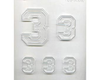 "Collegiate Number ""3"" Chocolate Candy Mold"