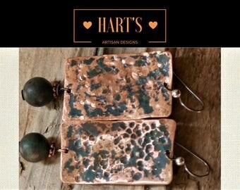 Copper Peruvian Opal Niobium Earrings