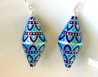 Silver enamel earrings,blue earrings, drop silver earrings, Sterling silver enamel earrings, enamel Jewellery, gift for her