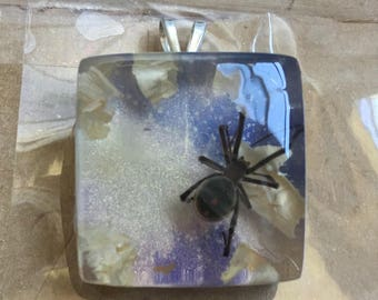 Real Black Widow Spider Clear Resin Pendant