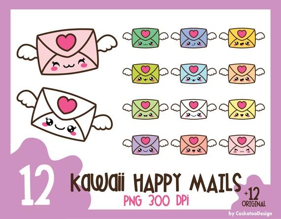 35% OFF, Kawaii Clip Art, Love Letter Clipart, Valentines Day Clipart,  Envelope Clipart, Mail Clipart, Happy Mail Clipart, Envelope Clip Art