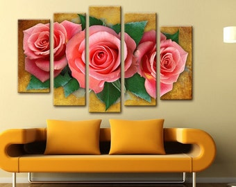 Roses wall Art, Art Print on Canvas,Extra Large Wall Art , Canvas Art, Home Art, Living Room Flower Picture, 3 piece wall art