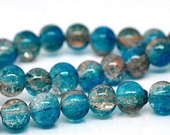 Bead blue round glass 8 mm - x 50