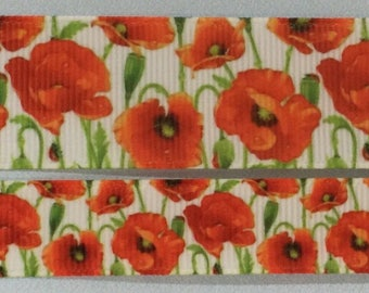 """Beautiful Poppy designs on Grosgrain Ribbon and bows 2.5cm or 1"""" and 1.6cm or 5/8"""" width."""