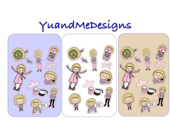 Relaxing Girl Planner Stickers