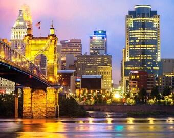 Cincinnati Skyline And The John Roebling Suspension Bridge - Ohio River - Architectural Cityscape - Wall Art - Home Decor