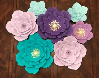 7 piece paper flowers set for room decor, baby shower, nursery